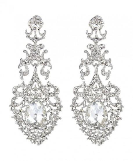 EVER FAITH Austrian Crystal Elegant Lace Hollow-out Tear Drop Chandelier Earrings Silver-Tone - Clear - CE124KPJDF5