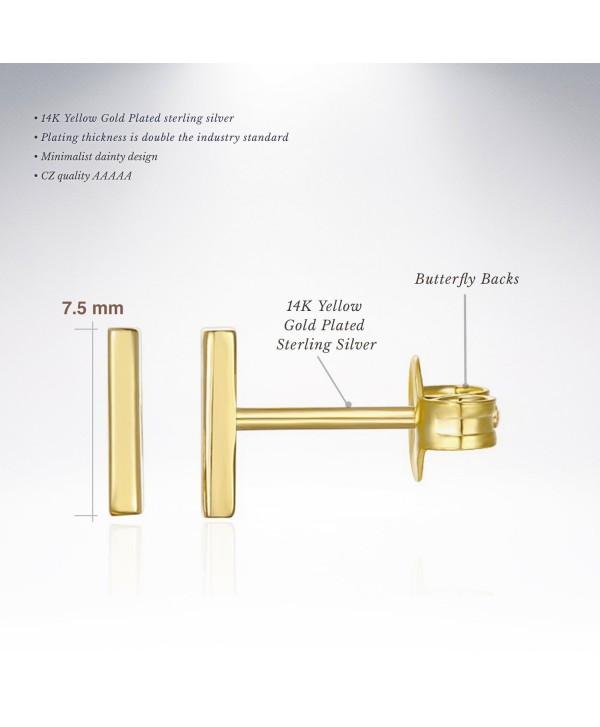 PAVOI 14K Gold Plated Dainty Mini Bar- Heart and Star Stud Earrings - Bar - Yellow - C412OCP4K61
