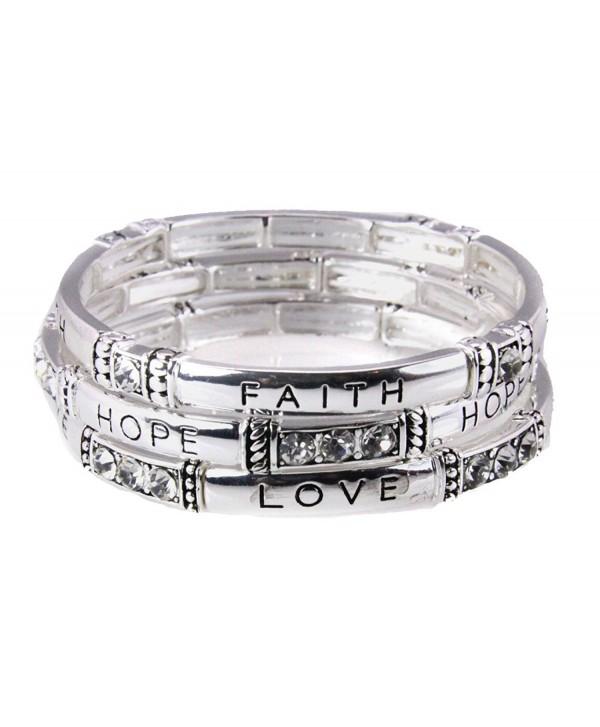 4030871 3 Piece Stacking Stretch Bracelet Set Faith Hope Love 1st Corinthians 13 Scripture Christian - C311DRB6BKJ