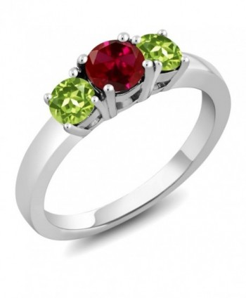 1.20 Ct Round Red Created Ruby Green Peridot 925 Sterling Silver 3-Stone Ring (Available in size 5- 6- 7- 8- 9) - CU11H0CDZFF