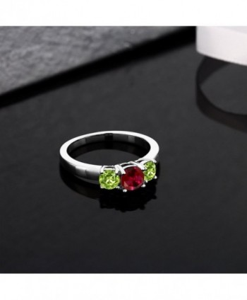 Created Peridot Sterling 3 Stone Available in Women's Statement Rings