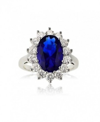 Sterling Silver Oval Blue Sapphire and CZ Princess Diana/Kate Middleton Ring - CN1189FTLTB