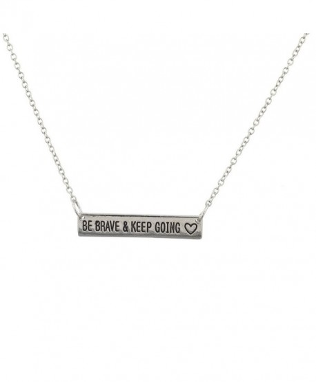 Lux Accessories Burnish Silvertone Be Brave Keep Going Nameplate Verbiage Necklace - C112L9TYQUH