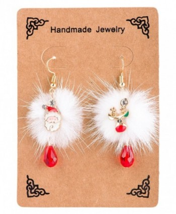 Fystir Colorful Christmas Dangle Earrings Set for Women Girls Stockings White Snowflake - 2 Pairs - CS187ZWKZOU