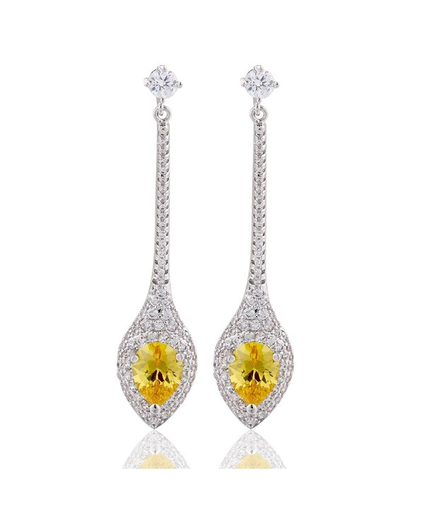 GULICX Glamour Prong CZ Yellow Teardrop Dangle Earrings Silver Tone Party Jewelry - C712FTLICPL