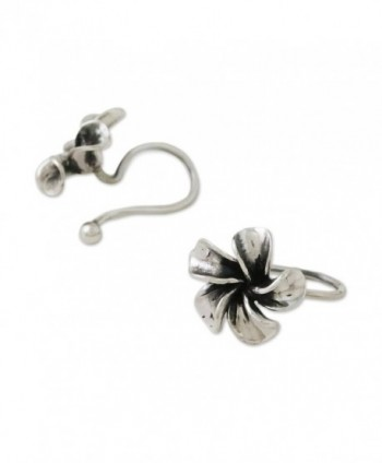 NOVICA Plumeria Flower Sterling Frangipani in Women's Cuffs & Wraps Earrings