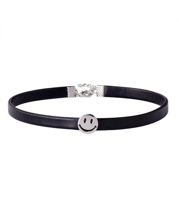 Jane Stone Vintage Black Leather 90s Choker Necklace Gothic Fashion for Women Teens(Fn2074-Silver) - CU12NB5RZ2P