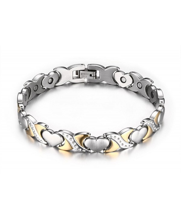 "MG Jewelry Two-tone Heart Shape Magnet Energy Healthy Bracelet in Stainless Steel for Women- 8"" - CI128WT46A1"