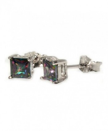 Stud Post Earrings 6mm Princess Cut Rainbow Cubic Zirconia 925 Sterling Silver - CU12MYCD5ZQ