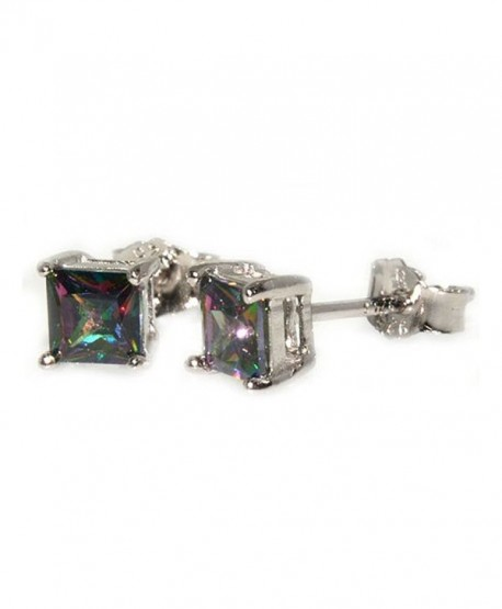 Stud Post Earrings 6mm Princess Cut Rainbow Cubic Zirconia 925 Sterling Silver - CU12MYCD5ZQ