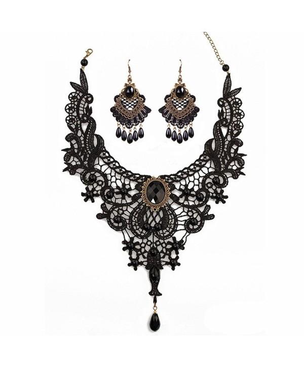 MEiySH Black Lace Gothic Lolita Pendant Choker Necklace Earrings Set - CE1887TLK7U