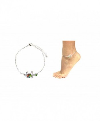 Athena Silvertone Crab Charm Barefoot Sandals Anklet w/Gift Box - C617Y7LGSYL