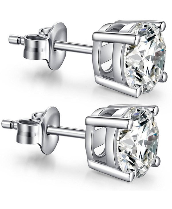 Fashion 925 Sterling Silver Pricess Cut Cubic Zirconia Stud Earrings 4mm 5mm 6mm 7mm 8mm - CH184Q4W5D6