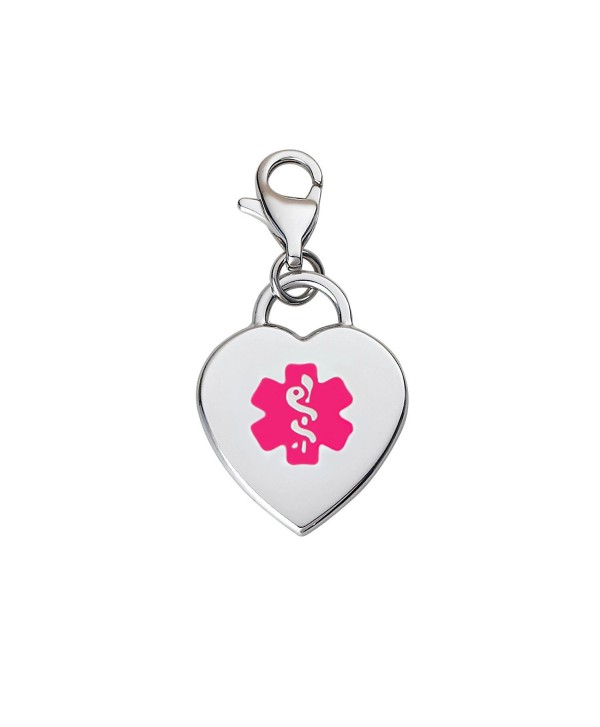 Divoti Custom Engraved Adorable Heart 316L Medical Alert Charm w/ Lobster Clasp - Violet - C412ICFWS8X