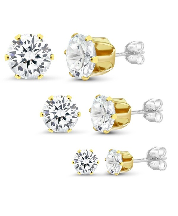 Sterling Silver Yellow Gold Plated Set of 3 Round White Zirconia 4mm- 6mm and 8mm Stud Earrings Set - CC11OT3H16H