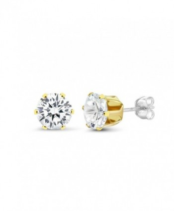 Sterling Silver Yellow Zirconia Earrings in Women's Stud Earrings