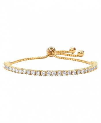 "White Cubic Zirconia 14k Yellow Gold-Plated Adjustable Drawstring Strand Bracelet 10"" - CE1834C889Z"