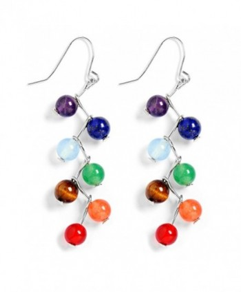 Jauxin 7 Chakra Long Dangle Stanless Steel Hook Healing Engery Earrings for Women Girls - CU1822SLNDU