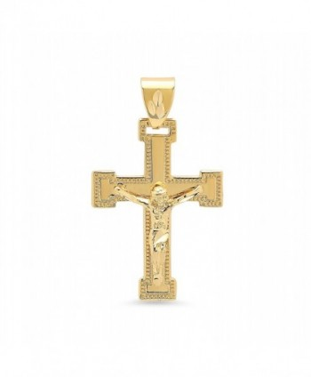 Large 32mm x 46mm 14k Gold Plated Milgrain Bordered Crucifix Pendant + Microfiber Jewelry Polishing Cloth - CM11HL04W85