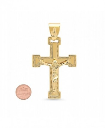 Milgrain Bordered Crucifix Microfiber Polishing in Women's Pendants