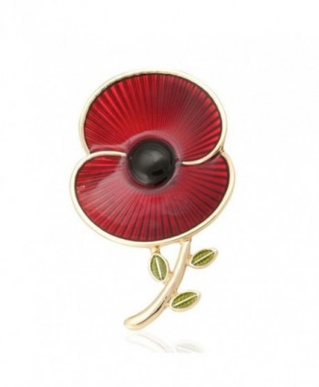 Poppy Brooches Remembrance Sunday Red Flower Rhinestone Badges Banquet Enamel Poppy Lapel Pin - CV187DH5KRZ