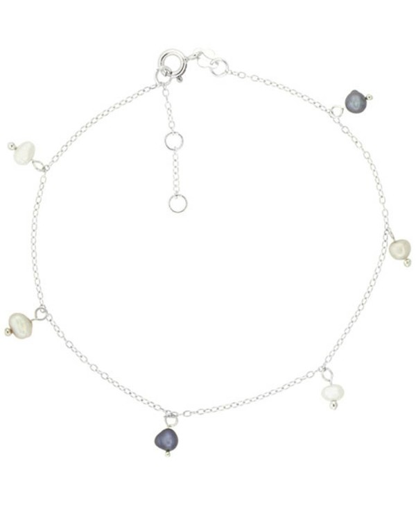 Sterling Silver Anklet Cultured White & Gray Pearls- adjustable 9 - 10 inch - C1118RVYA1Z
