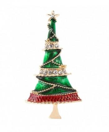 VOGUEKNOCK Christmas Brooch Xmas Wreaths Snowman Snowflake Santa Candy Cane Brooch Pin - tree - CB187O0IGC8