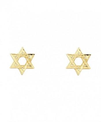 14k Yellow Gold Star of David Stud Earrings (10 X 10mm) - C61229I7569
