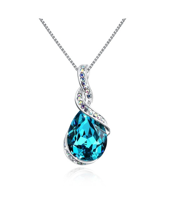 "Osiana ""Ocean Star"" Drop-Tear Swarovski Crystal Pendant Necklace Fashion Jewelry Gifts for Women - Aqua - CE12J7SI53B"