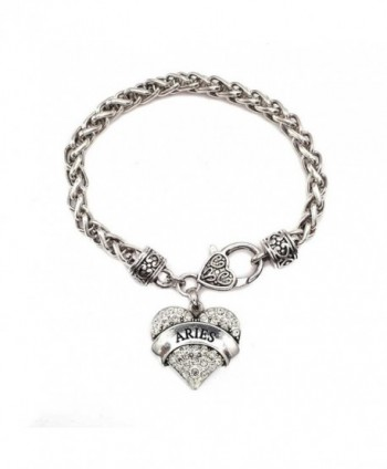 Aries Zodiac 1 Carat Classic Silver Plated Heart Clear Crystal Charm Bracelet Jewelry - CC11VDKQZWP