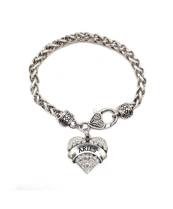 Aries Zodiac 1 Carat Classic Silver Plated Heart Clear Crystal Charm Bracelet Jewelry - CC11VDKQZWP