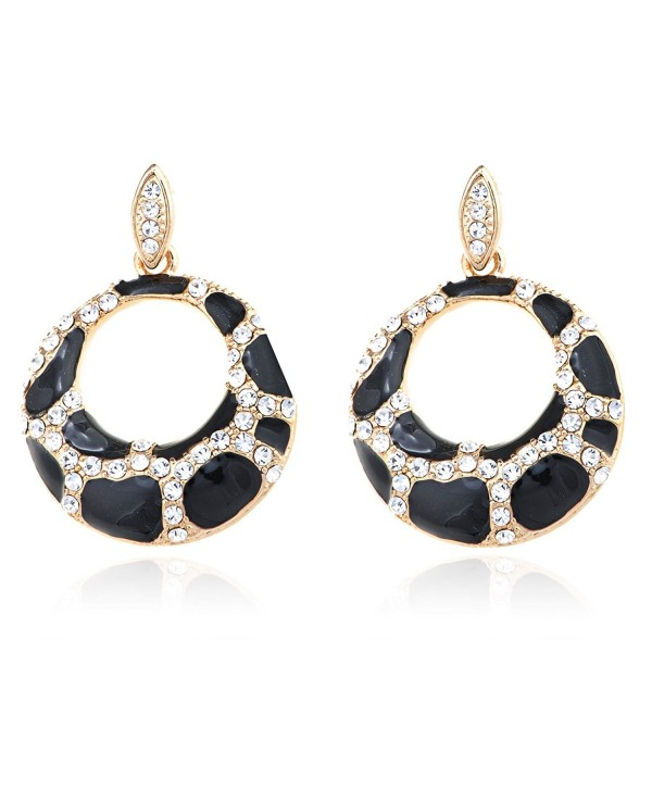 Alilang Womens Golden Tone Clear Rhinestones Urban Cow Spotted Hoop Dangle Earrings - CM1193E72NT