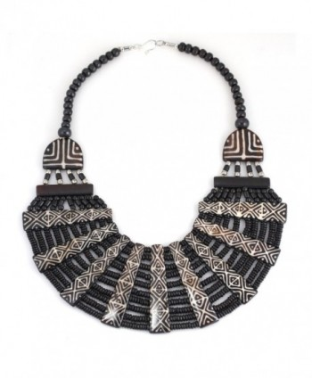 TAZZA HEMATITE SEED BEAD ETHNIC STATEMENT NECKLACE FWNK-1611-10 - CV182ER7YE5