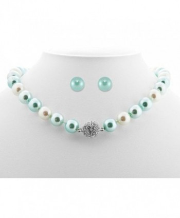 Formal Aqua Blue Color Faux Pearl Necklace & Stud Earring - Blue Bridesmaid Jewelry - C7116EGGXL1