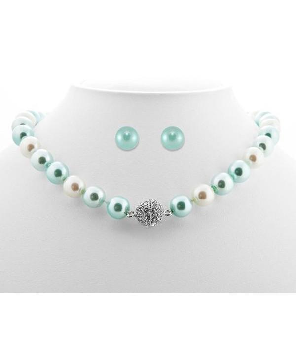 Formal Aqua Blue Color Faux Pearl Necklace & Stud Earring - Blue Bridesmaid Jewelry - C7116EGGXL1
