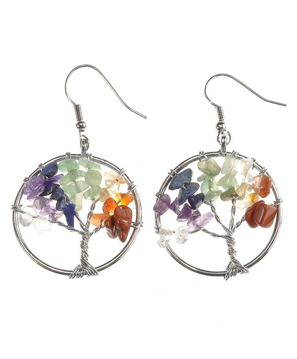 JOVIVI Women Copper Wire Wrap Gemstone Crystal Quartz Chip Bead Tree Of Life Hook Earrings Gift w/Box - 1 Chakra - CF12LMGH4HJ