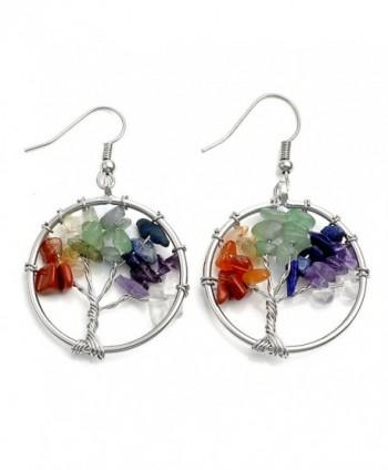 JOVIVI Copper Gemstone Crystal Earrings