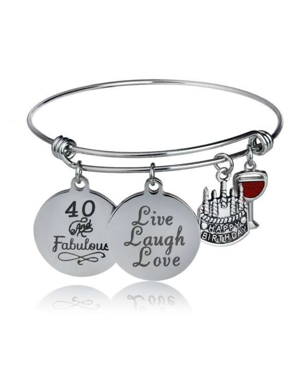 Happy Birthday Bangles- Cake Cheer Live Laugh Love Charms Bangle Bracelets- Gifts For Her - C61895H8R3C