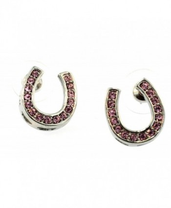 Crystal Horseshoe Earrings (Pink) - CD12LHI76FR