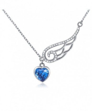 "925 Sterling Silver Cubic Zirconia Guardian Angel Wing Heart Pendant Necklace for Women- 18"" - Bule - CB182WA97EC"