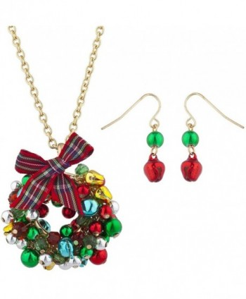 Lux Accessories Gold Tone Jingle Bell Christmas Xmas Wreath Necklace Earring Set - CB187C6NUZX