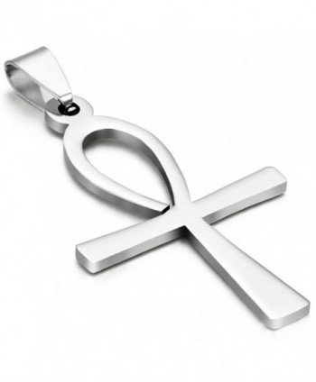 Oidea Womens Mens Stainless Steel Egyptian Ankh Pendant Necklace with Chain Included - CK12GSAKHRH