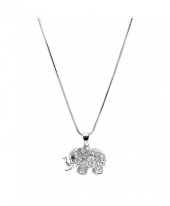 chelseachicNYC Crystal Raised Trunk Lucky Elephant Necklace - C7129QUROBT