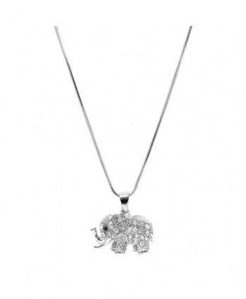 chelseachicNYC Crystal Raised Trunk Lucky Elephant Necklace - C7129QUROBT