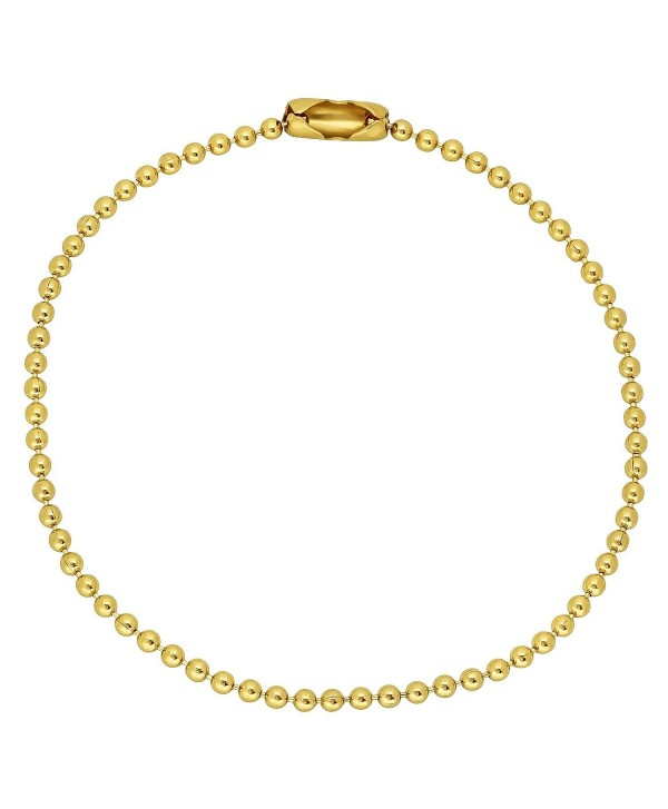 Thin 2.3mm 14k Yellow Gold Plated Military Style Ball Chain Bracelet + Microfiber Jewelry Polishing Cloth - CF11UMQ795N