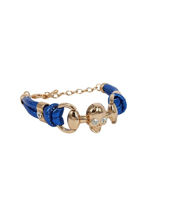 Ladies Fashion Bracelet PU Leather Bracelet Gold Tone Skull Crystal Accent - Blue - C911N3PYVYR