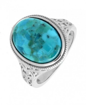 Sterling Silver Oval Genuine Turquoise Cocktail Ring in Vintage Style - CG18842NX66