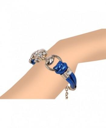 Fashion Bracelet Crystals Metallic Leather