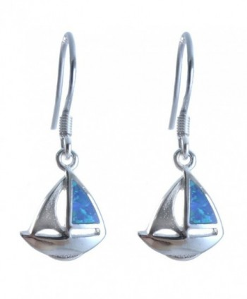 Sailboat Earrings Lab Created Blue Simulated Opal .925 Sterling Silver. 1.2 Inch - C711YVJL4IF