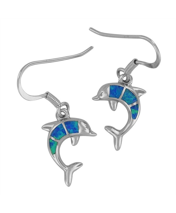 Sterling Silver Synthetic Blue Opal Dolphin Dangle Earrings - CR11MBPHU2P